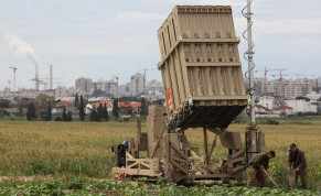 IDF SOLDIERS near The Iron Dome anti-missile system near Ashkelon, 2011.
