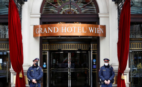 Police stand outside a hotel where a meeting of the Joint Commission of the Joint Comprehensive Plan of Action (JCPOA), or Iran nuclear deal, is held in Vienna, Austria, April 20, 2021.