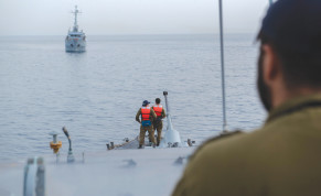 SOLDIERS ABOARD the 'INS Romah' during a drill this week.