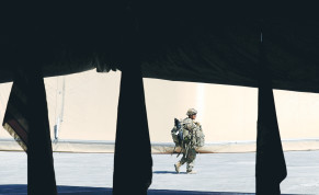A US SOLDIER walks by during the handover of Taji military base from US-led coalition troops to Iraqi security forces in August 2020.
