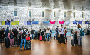 TRAVELERS CONVERGE at Ben-Gurion Airport late last month, as the skies begin to open up.