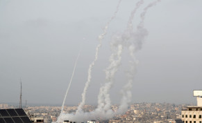 Rockets are launched into Israel amid Jerusalem's tension, in Gaza May 10, 2021.