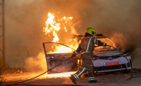 Israeli police seen on the streets of the central Israeli city of Lod, where last night synaogues and cars were torched as well as shops damaged, by Arab residents rioted in the city, and ongoing this evening. May 12, 2021