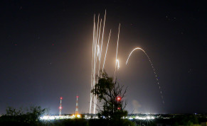 Rockets are seen being fired into Israel from the Gaza Strip, on May 12, 2021.