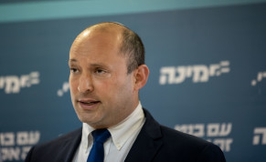 Head of the Yamina party Naftali Bennett gives a press conference at the Knesset, the Israeli parliament in Jerusalem, on May 05, 2021.