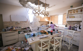 The scene where a private house was hit by a missile fired from the Gaza Strip into Ashkelon, southern Israel, on May 16, 2021.