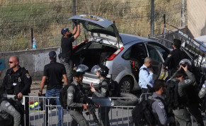 Police at the scene of a car ramming attack in east Jerusalem, with several injuries. The terror attack occurred in the Sheikh Jarrah neighborhood of east Jerusalem, on May 16, 2021.