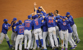 The Chicago Cubs celebrate after winning the 2016 World Series