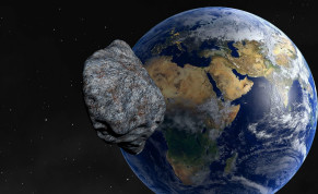 An asteroid is seen approaching Earth (illustrative).