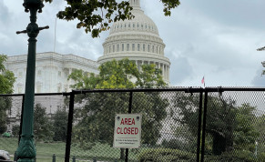 Security fencing is seen near the US Capitol ahead of rally in support of the Jan. 6 defendants in Washington