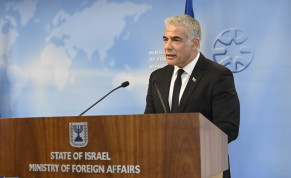 Foreign Minister Yair Lapid (R). October 18, 2021.