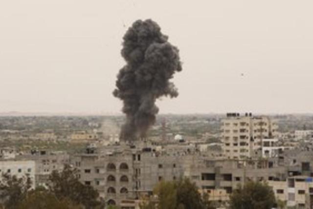IAF airstrike Gaza_311 reuters (photo credit: Ibraheem Abu Mustafa / Reuters)
