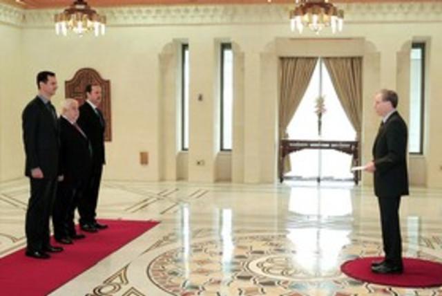 Robert Ford and Assad 311 (photo credit: REUTERS/Sana Sana)