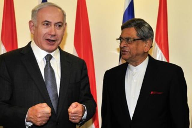 Netanyahu, India FM SM Krishna (photo credit: Reuters)