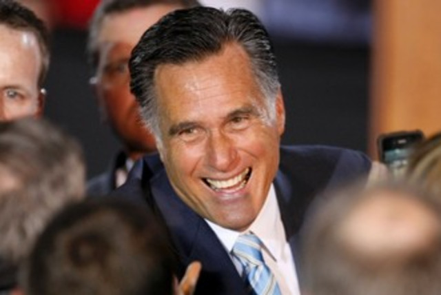 Romney celebrates 370 (photo credit: REUTERS)