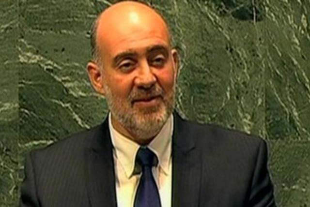 Israel UN envoy Ron Prosor at the UN 390 (photo credit: Screenshot Al Jazeera)