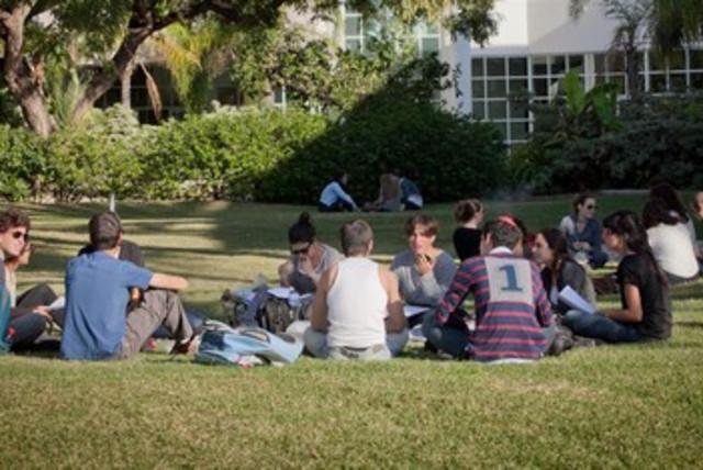 Bar Ilan Universtyi students college lawn hanging out 390 (photo credit: Courtesy Bar Ilan University)