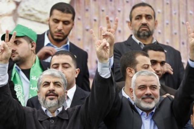 Mashaal and Haniyeh at Gaza rally 370 (photo credit: REUTERS/Mohammed Salem)