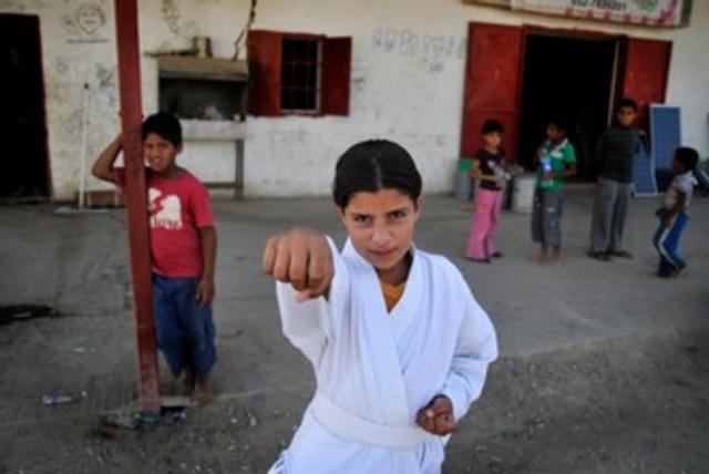 Hazem Abu Qwedar teaches karate 370 (photo credit: Hadas Parush)
