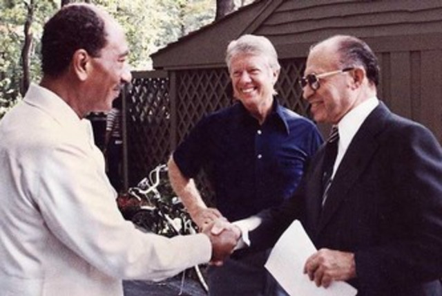 Sadat, Carter and Begin at Camp David 1978 370 (photo credit: Wikimedia Commons)