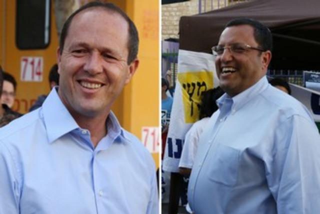 Nir Barkat and Moshe Lion election day 370 (photo credit: Marc Israel Sellem/The Jerusalem Post)