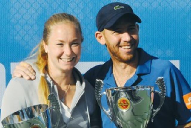 Dudi Sela and Julia Glushko tennis 370 (photo credit: Photo Gadi)