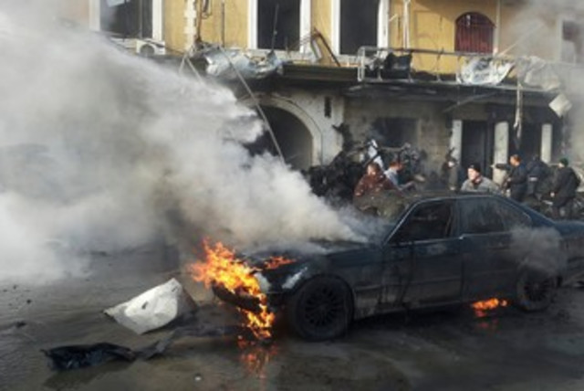 Site of bombing in Lebanese Hezbollah stronghold (photo credit: REUTERS)