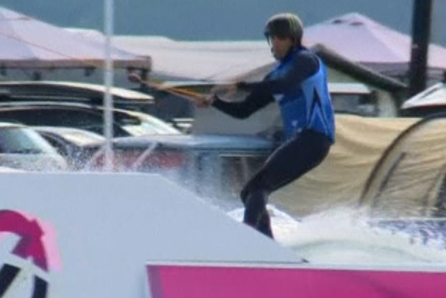 Lior Sofer at the Cable Wakeboard World Championships in Norway. (photo credit: screenshot)
