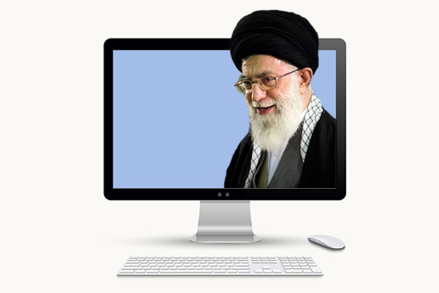 Khamenei on a computer screen (photo credit: INGIMAGE,REUTERS)