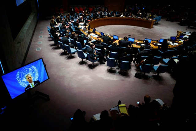 Members of UN Security Council during meeting at UN headquarters in New York , October 14 (photo credit: REUTERS)