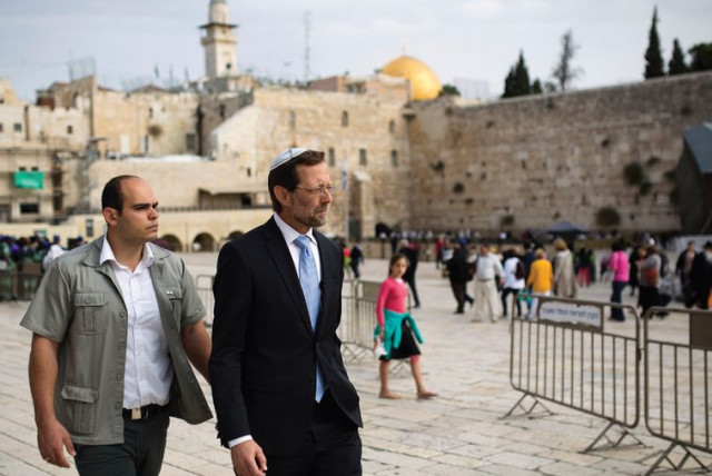 MK Moshe Feiglin near the Western Wall after ascending the Temple Mount. (photo credit: REUTERS)