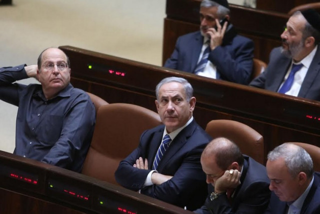 Benjamin Netanyahu at Knesset disperal vote (photo credit: MARC ISRAEL SELLEM)