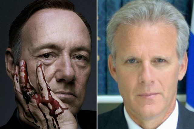 Kevin Spacey as President Frank Underwood in House of Cards (L) and former ambassador to the US, Michael Oren (photo credit: NETFLIX,FACEBOOK)