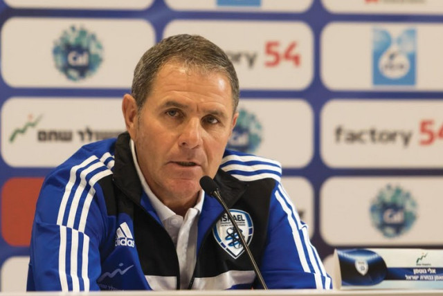 Israeli national soccer team coach Eli Gutman speaks to reporters (photo credit: ERAN LUF)