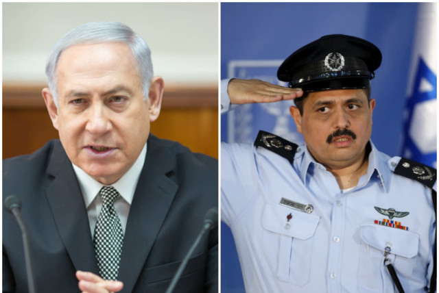 Prime Minister Benjamin Netanyahu and Police Chief Roni Alsheich (photo credit: EMIL SALMAN/POOL AND BAZ RATNER/REUTERS)