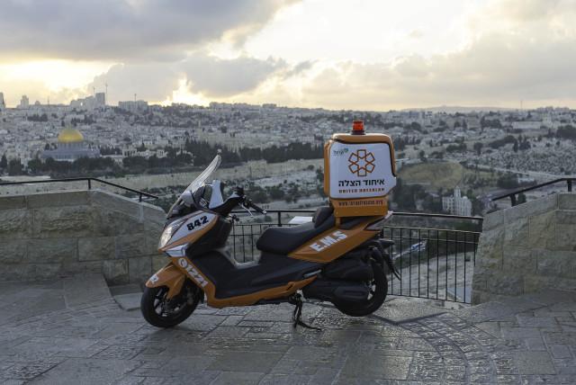 A new United Hatzalah ambucycle in Jerusalem (photo credit: SHIRA HERSHKOPF/UNITED HATZALAH)