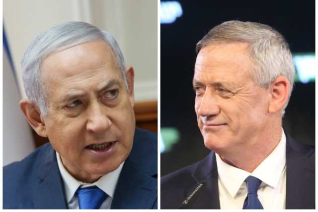 Benjamin Netanyahu (L) and Benny Gantz (R) (photo credit: MARC ISRAEL SELLEM/THE JERUSALEM POST)