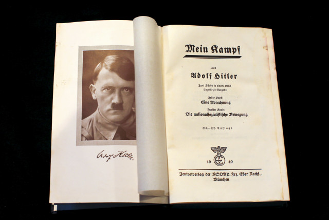 "A copy of Adolf Hitler's book ""Mein Kampf"" (My Struggle) from 1940 is pictured in Berlin, Germany, in this picture taken December 16, 2015 (photo credit: REUTERS/FABRIZIO BENSCH)"