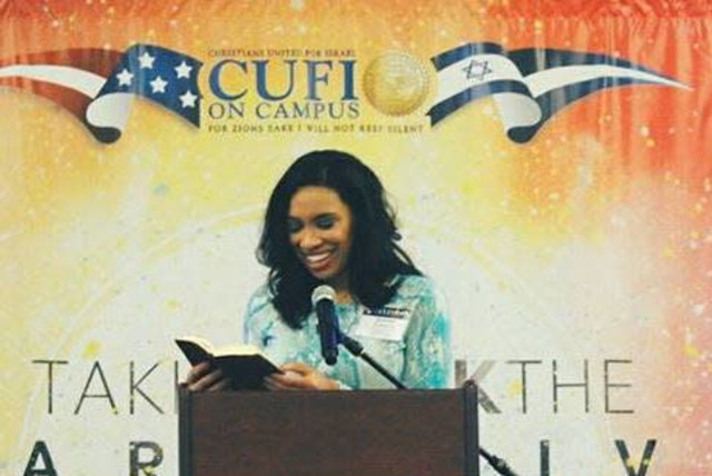 Destiny Albritton speaks at a CUFI on Campus event (photo credit: CUFI)