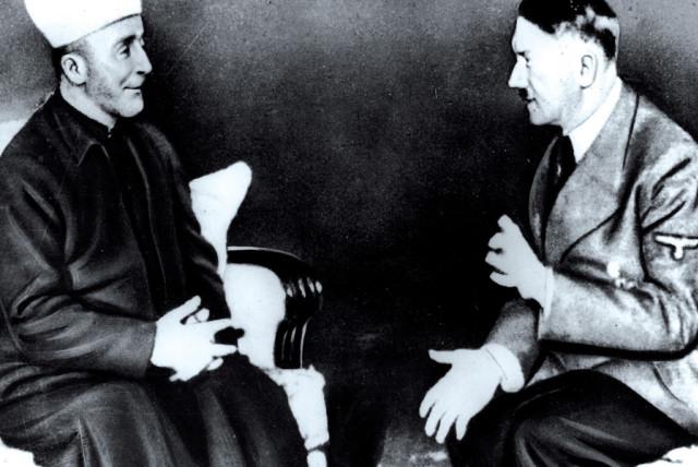Haj Amin al-Husseini, the grand mufti of Jerusalem, meeting with Adolf Hitler in 1941 (photo credit: JERUSALEM POST ARCHIVE)