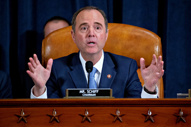 Representative Adam Schiff, a Democrat from California and chairman of the House Intelligence Committee, makes a closing statement during an impeachment inquiry hearing in Washington, D.C., U.S., on Thursday, Nov. 21, 2019 (photo credit: ANDREW HARRER/POOL VIA REUTERS)