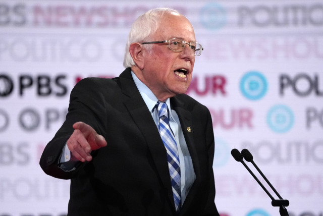 Senator Bernie Sanders speaks during the sixth 2020 U.S. Democratic presidential candidates campaign debate at Loyola Marymount University in Los Angeles, California, U.S., December 19, 2019. (photo credit: MIKE BLAKE/ REUTERS)