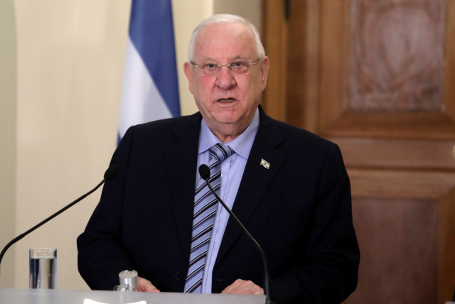 Israeli President Reuven Rivlin talks during a press conference at the Presidential Palace in Nicosia, Cyprus February 12, 2019. (photo credit: YIANNIS KOURTOGLOU/REUTERS)