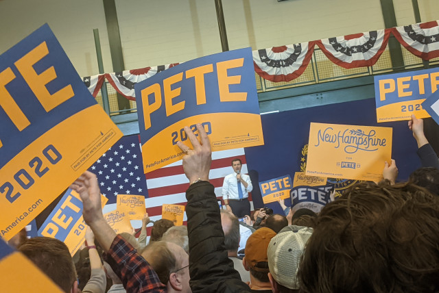 Presidential candidate Pete Buttigieg, the former mayor of South Bend, Indiana, is the first openly gay Democrat to run for the White House. (photo credit: DARREN GARNICK)