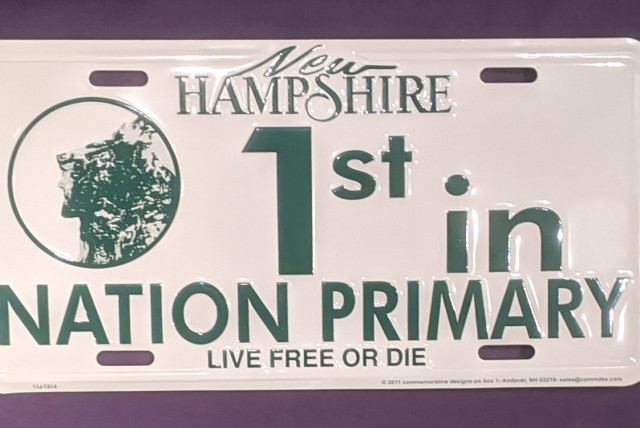 New Hampshire Pride: A souvenir New Hampshire Primary license plate now selling in the Statehouse gift shop. 2020 marks the 100th anniversary of when the Granite State first voted first in the U.S. presidential primaries. (Credit: Darren Garnick)