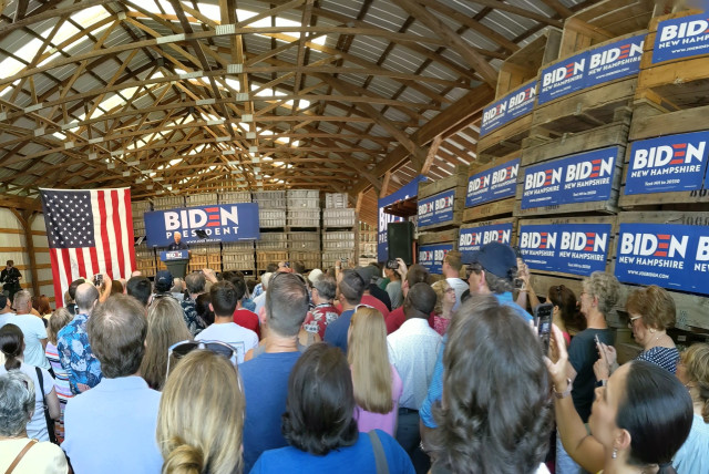 Former vice president Joe Biden gives his stump speech at Mack's Apples in Londonderry, New Hampshire in July 2019. Barns are a favorite backdrop for presidential candidates. (Credit: Darren Garnick)