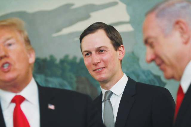 JARED KUSHNER, senior adviser to the president, listens to US President Donald Trump speak with Prime Minister Benjamin Netanyahu at the White House last year. (photo credit: CARLOS BARRIA / REUTERS)