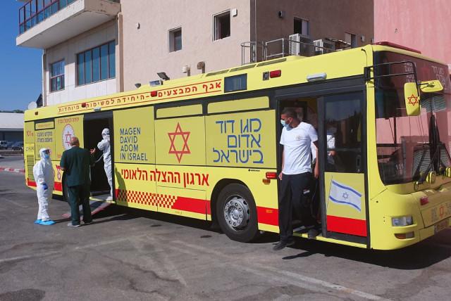 MDA uses ambulance bus to evacuate nine from southern Israel nursing home (photo credit: MAGEN DAVID ADOM)