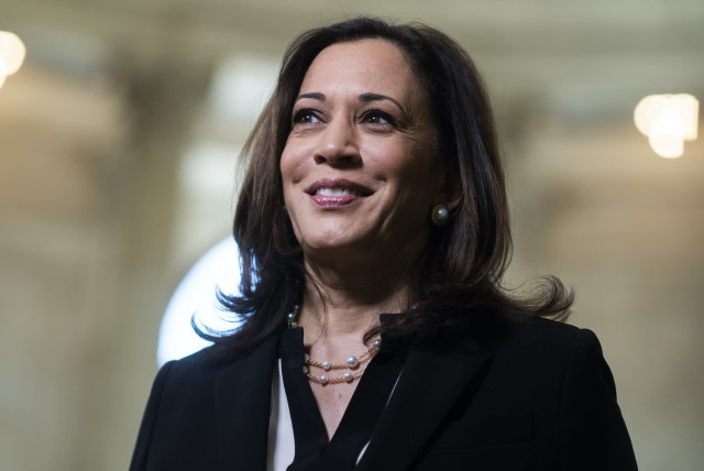 Sen. Kamala Harris in the Russell Senate Office Building, June 24, 2020 (photo credit: TOM WILLIAMS/CQ ROLL CALL/GETTY IMAGES/JTA)