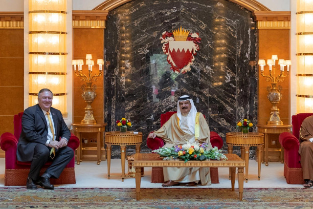 US Secretary of State, Mike Pompeo meets with Bahrain King Hamad bin Isa Al Khalifa and Bahrain Crown Prince Salman bin Hamad Al Khalifa during his visit to Manama, Bahrain, August 26, 2020. (photo credit: REUTERS)